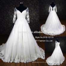 2016 alibaba wedding dress sweet heart three quater sleeves applique lace wedding dress low back