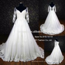 2016 alibaba wedding dress sweet heart three quater sleeves applique lace wedding dress low back