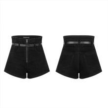 Dropshipping Nightclub Casual Ladies Shorts Solid Color High Waist Hollow Belt Buckle Tight Women Shorts 2021