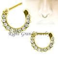 Gold Crystal Paved Septum Clicker Nose Septum Piercing