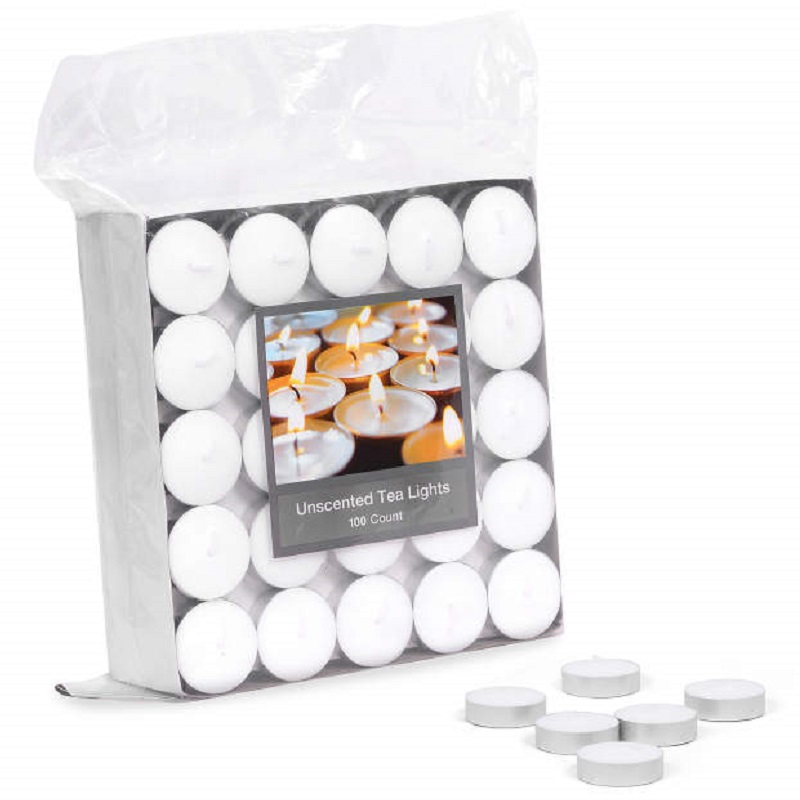 Unscented Tealights 100 Pack Candles Next To Package