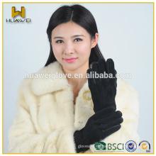 Hochwertige warme schwarze Frauen Schwein Wildleder Handschuhe mit gestrickten Clips zwischen den Fingern (Factory Directly)