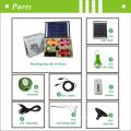 Nouveau portable CE indoor led maison lampe solaire avec chargeur USB & lampes LED