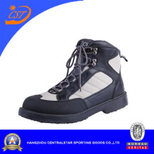 Black Leather Wading Shoes Waterproof for Fishing (66254)