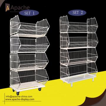 Supermarket Metal Display Stand Wire Shelving