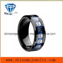Wolfram-Blau-Wolframkarbid-Kohlenstoff-Faser-Einsatz Silber-Skelett-männlichen Ring