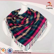Elegant Teal Reversible Plaid Pashmina Shawl Wrap