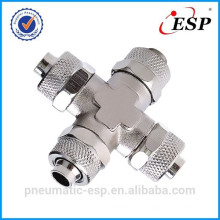 pneumatic metal fitting for plastic tube union cross type