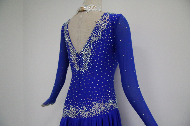 Blue Latin Dance Costumes For Ladies