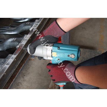 Luva de Nylon 18g com látex de Sandy preto do revestimento (L3016)