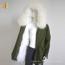 White Raccoon Faux Fur Girls Invierno cálido abrigo de las mujeres