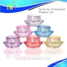 Diamond transparent cosmetics packaging bottle /2g 3g 5g cream jar