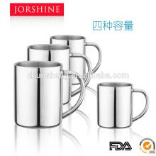 4 capacidades de alta calidad y venta caliente tazas de café de doble pared con metal mango