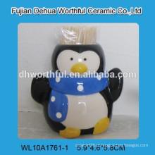 Suporte de palito de cerâmica de alta qualidade com pingüim figurine