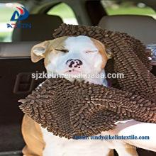 Toalha do animal de estimação de Chenille microfibra ultra macio cão absorvente com bolso
