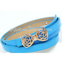 2014 new design of kids fashion PU belt with bow buckle