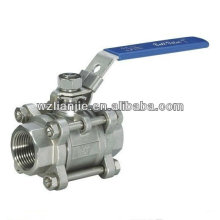 3PC Stainless Steel Ball Valve NPT Screw Ends wich Locking Device,CF8M 1000PSI
