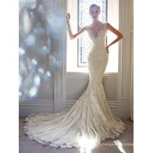 Sheer Back Sheath Mermaid Lace Wedding Dress