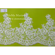 French Lace Ivory Floral Lace Fabric for Bridal Wedding Dress CTC350-1