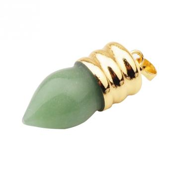 Natural lamp bulb Gemstone Green Avetnurine Pendant Plated Gold