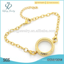 New gold 3mm O Rolo Chain bracelet with floating locket, stainless stee bracelet