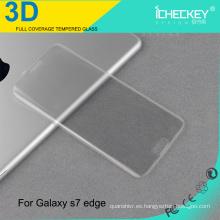 Etiqueta engomada de cristal moderada antiarañazos de la piel de la cubierta completa 3D para el borde de Samsung s7 transparente