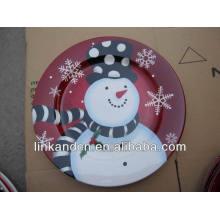 Personalizada de impresión fina de cerámica cena platos-muñeco de nieve muestran