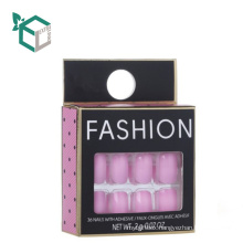 Wholesale Low Price Art Paper Foldable CMYK Handmade Cosmetics False Nail Packaging Hanging Box With Plastic Tray