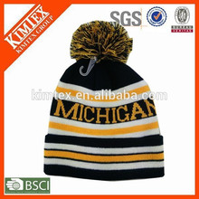 Hot selling jacquard custom striped beanie hat with ball
