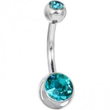 Österreichischen Crystal Blue Zirkon Doppel Gem Bauch Ring