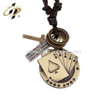 Promotional gift antique silver plated zinc alloy custom decorative poker metal pendant for wholesale