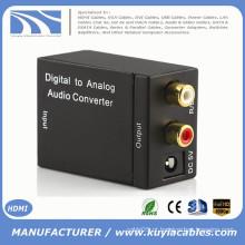 Conversor de áudio Analógico para Digital, R / L analógico para Toslink Amplificador de alto-falante de áudio coaxial