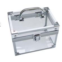 Kleiner quadratischer Aluminium-Aufbewahrungsbehälter mit transparentem Acryl