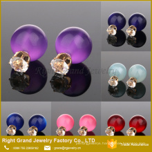 Cheap 12mm Crystal & Pearl Double Ball Earring Studs