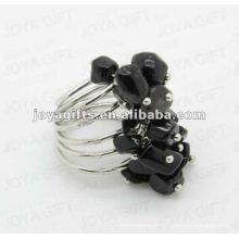 Black Onyx chip anéis de envoltório de pedra