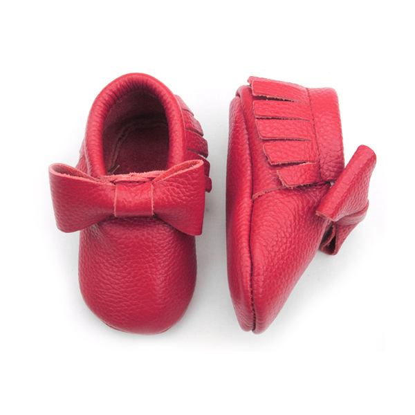 Leather Moccasins Red shoes