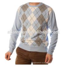 Цена завода стиль аргайл интарсия 100% чистого кашемировый свитер,кашемировый свитер