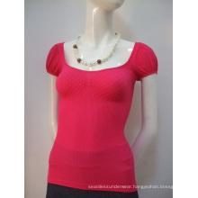 Ladies Fashion's Seamless Diamond Short Sleeve T Shirts