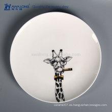 Pintura de la mano de la jirafa Foto al por mayor de la placa de cena a granel, de mesa de camping de cerámica