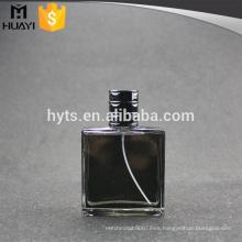 Botella de perfume negra de cristal de alta calidad 100ml
