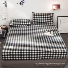 Deep Pockets Deep Pockets Soft Cotton Fabric for Single Black and White Plaid Bed Linen