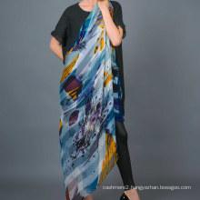 100% Stripe Silk Digital Print Hand Rolled Square Scarf