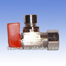 Mini ball stop angle valves with compression ends