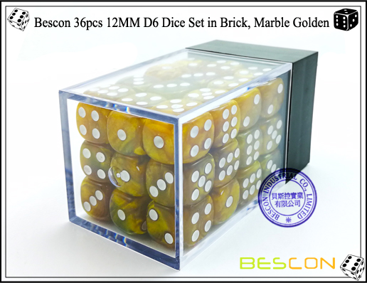 Bescon 36pcs 12MM D6 Dice Set in Brick, Marble Golden-3