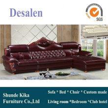 Sofá de cuero de nuevo diseño con marco de madera, sofá antiguo (A38)