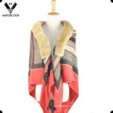 Moda Soft Acrílico Padrão Impresso Fur Collar Lady Shawl