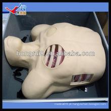 Manequim de drenagem pleural ISO, Neumotórax Descompressão, modelo de drenagem da toracocentese