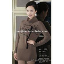 Damen High Neck 100% Kaschmir-Pullover Kleid