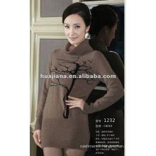 ladies high neck 100% cashmere sweater dress
