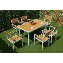 New European Modern Outdoor Garden Dining Furniture Set Aluminum Powder-Coated Table and Patio Chairs